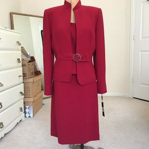 Tahari 3 piece red skirt set